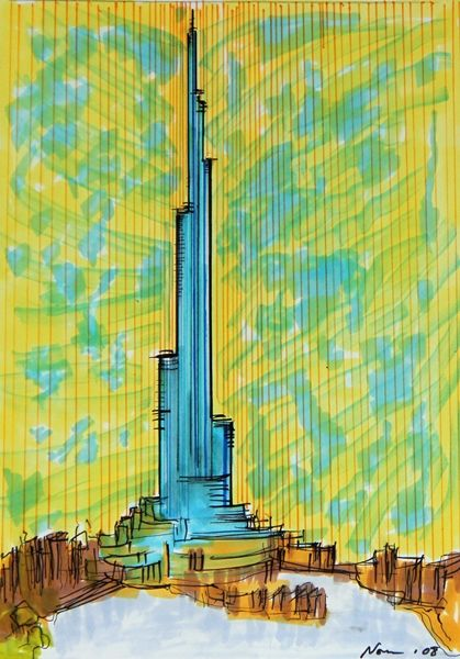 Burj khalifa sketch 1 for Burj khalifa sketch